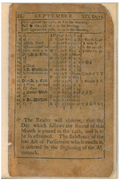 Kalender från Virgina 1752